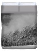 Dusted Flatirons Low Clouds Boulder Colorado Bw Duvet Cover