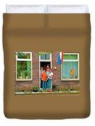 Dutch Family On Orange Day In Enkhuizen-netherlands Duvet Cover