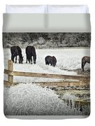 Dutch Friesian Horses Behind A Wooden Fence In A Pasture Duvet Cover