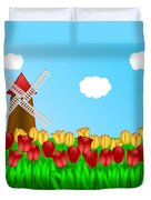 Dutch Windmill In Tulips Field Farm Illustration Duvet Cover