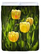Dutch Yellow Tulip Flowers On Windmill Island In Holland Michigan Duvet Cover