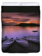 D.wiggett Canoes On Shore, Pink And Duvet Cover by First Light