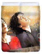 Dylan Moran And Tamsin Greig In Black Books Duvet Cover