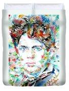 Dylan Thomas - Watercolor Portrait Duvet Cover
