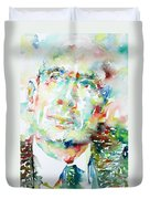 E. E. Cummings - Watercolor Portrait Duvet Cover