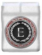 E - Silver Vintage Monogram On White Leather Duvet Cover