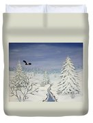 Eagle On Winter Lanscape Duvet Cover