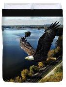 Eagle Over Mississippi  Duvet Cover