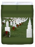Eagle Point National Cemetery At Christmas Duvet Cover