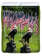 Eagles And Flags On Memorial Day Duvet Cover