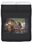 Early Evening In Main Street Nyack Duvet Cover