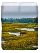 Early Fall On The Moose River - Old Forge New York Duvet Cover by David Patterson