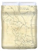 Early Hand-drawn Southern Texas Map C. 1795 Duvet Cover