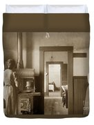 Early Kitchen With A Wood Kitchen Stove Circa 1906 Duvet Cover