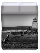 Early Morning At Bug Lighthouse Bw Duvet Cover