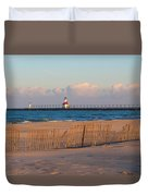 Early Morning Beach And Lighthouse Duvet Cover