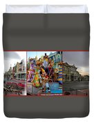 Early Morning Main Street With Mickey Walt Disney World 3 Panel Composite Duvet Cover