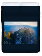 Early Morning Mist At The Bastei In The Saxon Switzerland Duvet Cover