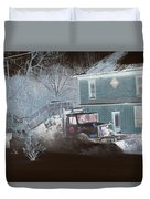 Early Morning Snow Plow Duvet Cover