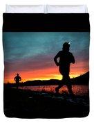 Early Morning Trail Running Duvet Cover