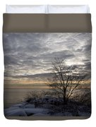 Early Morning Tree Silhouette On Silver Sky Duvet Cover