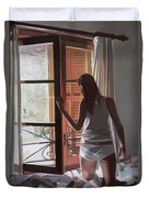 Early Morning Villa Mallorca Duvet Cover by Gillian Furlong
