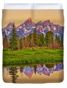 Early Morning Warmth At The Tetons  Duvet Cover