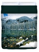 Early Snow At Nymph Lake Duvet Cover