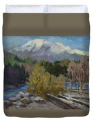 Early Snow Cascade Mountains Duvet Cover