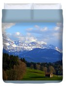 Early Snow In The Swiss Mountains Duvet Cover