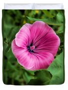 Early Summer Blooms Impressions - Bright Pink Malva - Vertical View Duvet Cover