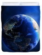 Earth And Galaxy With City Lights Duvet Cover