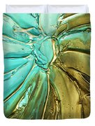 Aqua Teal Brown Organic Abstract Art Duvet Cover