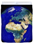 Earth From Space Europe And Africa Duvet Cover