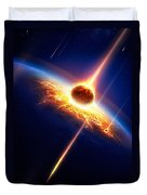 Earth In A  Meteor Shower Duvet Cover