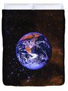 Earth In Space With Gaseous Nebula And Duvet Cover