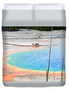 Earth Rainbow - Overhead View Of Grand Prismatic Spring In Yellowstone National Park.  Duvet Cover