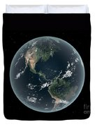 Earths Western Hemisphere With Rise Duvet Cover