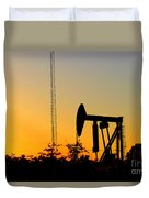 East Texas Pumpjack At Sunset Duvet Cover by Kathy  White