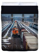 Eastbound And Westbound Trains Duvet Cover