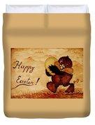 Easter Golden Egg Coffee Painting Duvet Cover