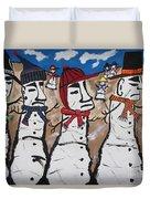 Easter Island Snow Men Duvet Cover