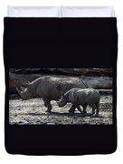 Eastern Black Rhinos Mama N Baby Duvet Cover