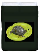 Eastern Box Turtle On Yellow Lily Duvet Cover