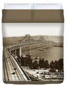 Eastern Span Of San Francisco-  Oakland Bay Bridge Circa 1937 Duvet Cover