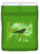 Ebony Jewelwing Damselfly - Calopteryx Maculata Duvet Cover