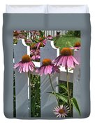Echinacea And A White Picket Fence Duvet Cover