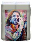 Eddie Vedder In Pink And Blue Duvet Cover