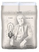 Edison And Electric Lamp Patent Duvet Cover