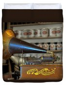 Edison Home Phonograph With Morning Glory Horn Duvet Cover